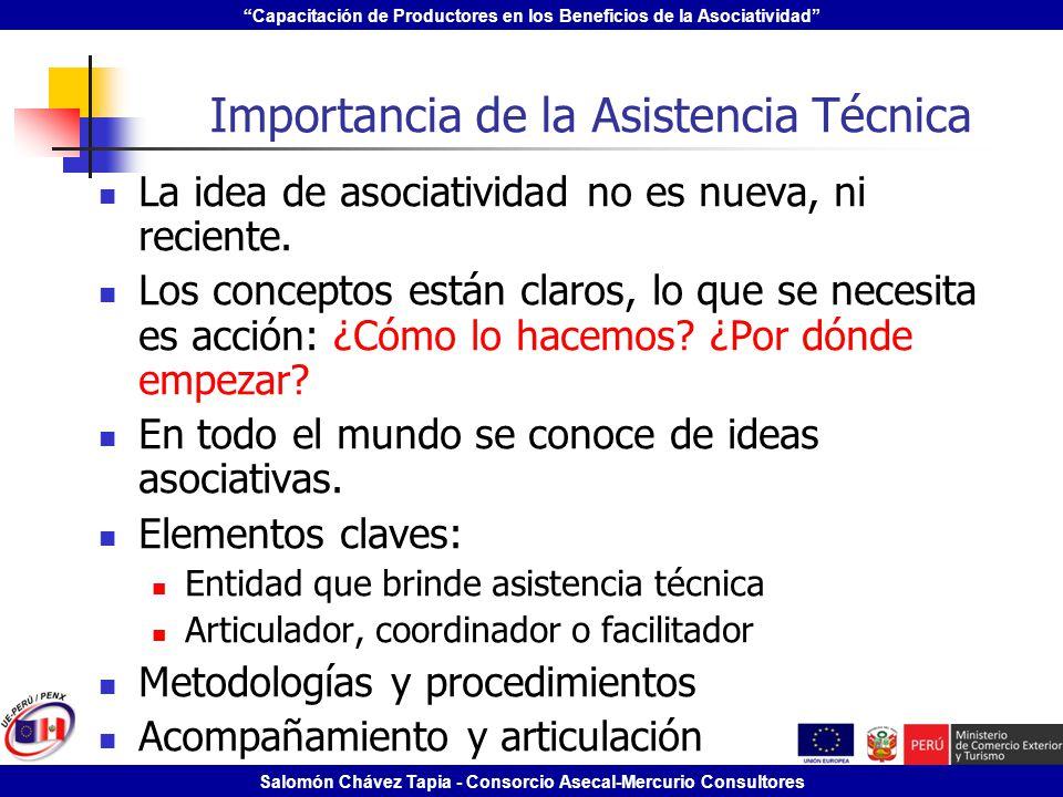 Capacitación de Productores en los Beneficios de la Asociatividad Salomón Chávez Tapia - Consorcio Asecal-Mercurio Consultores Importancia de la Asist