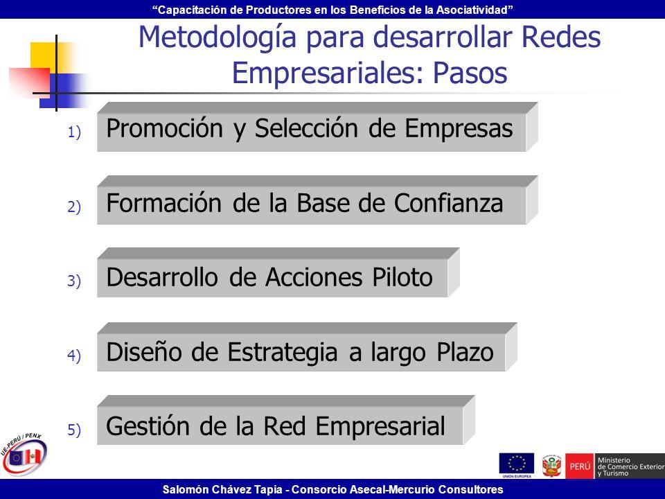 Capacitación de Productores en los Beneficios de la Asociatividad Salomón Chávez Tapia - Consorcio Asecal-Mercurio Consultores Metodología para desarr