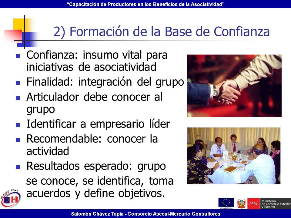 Capacitación de Productores en los Beneficios de la Asociatividad Salomón Chávez Tapia - Consorcio Asecal-Mercurio Consultores 2) Formación de la Base