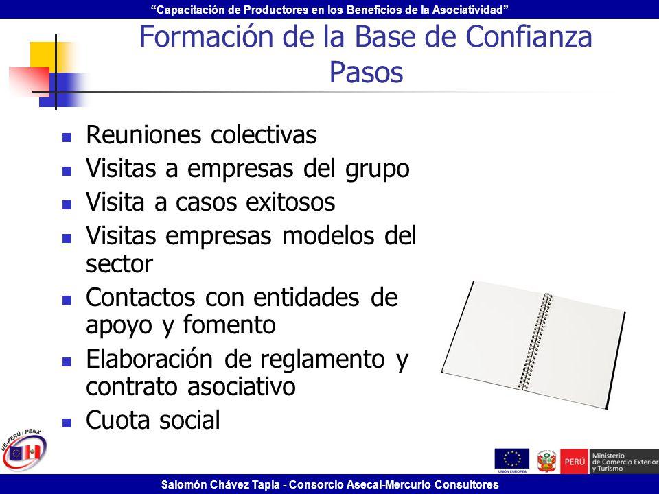 Capacitación de Productores en los Beneficios de la Asociatividad Salomón Chávez Tapia - Consorcio Asecal-Mercurio Consultores Formación de la Base de