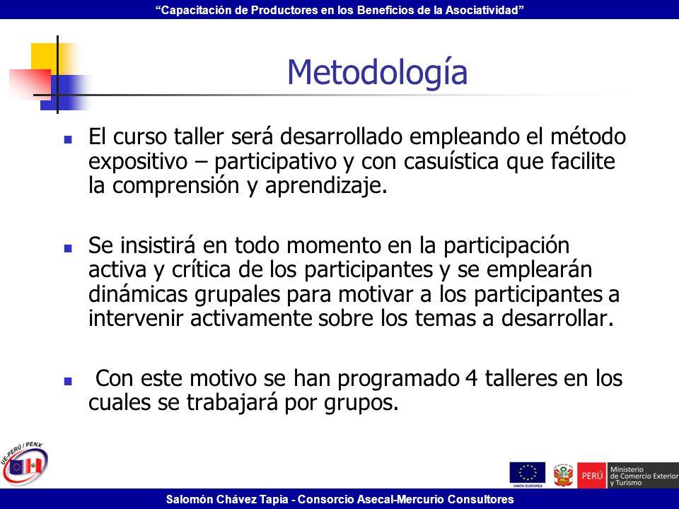 Capacitación de Productores en los Beneficios de la Asociatividad Salomón Chávez Tapia - Consorcio Asecal-Mercurio Consultores Metodología El curso ta