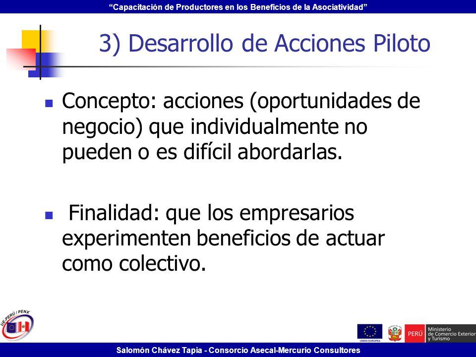Capacitación de Productores en los Beneficios de la Asociatividad Salomón Chávez Tapia - Consorcio Asecal-Mercurio Consultores 3) Desarrollo de Accion