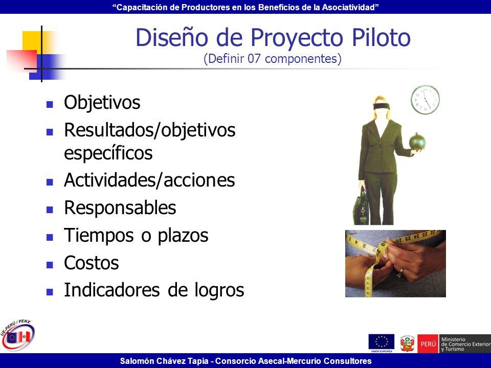 Capacitación de Productores en los Beneficios de la Asociatividad Salomón Chávez Tapia - Consorcio Asecal-Mercurio Consultores Diseño de Proyecto Pilo