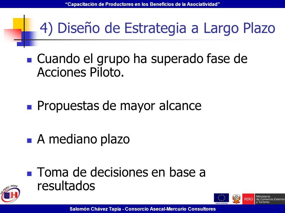 Capacitación de Productores en los Beneficios de la Asociatividad Salomón Chávez Tapia - Consorcio Asecal-Mercurio Consultores 4) Diseño de Estrategia