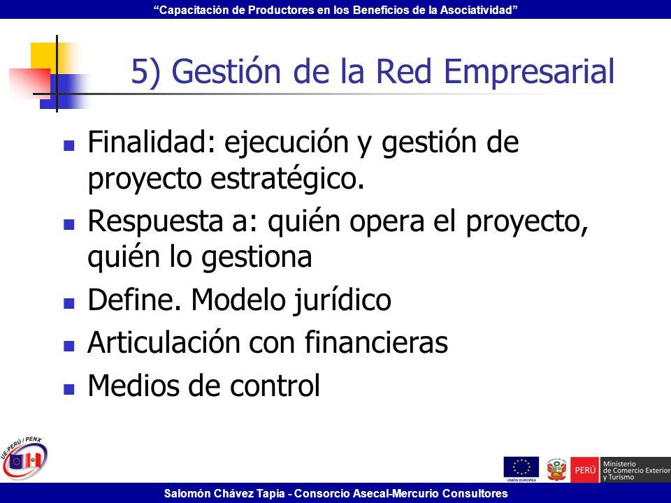 Capacitación de Productores en los Beneficios de la Asociatividad Salomón Chávez Tapia - Consorcio Asecal-Mercurio Consultores 5) Gestión de la Red Em