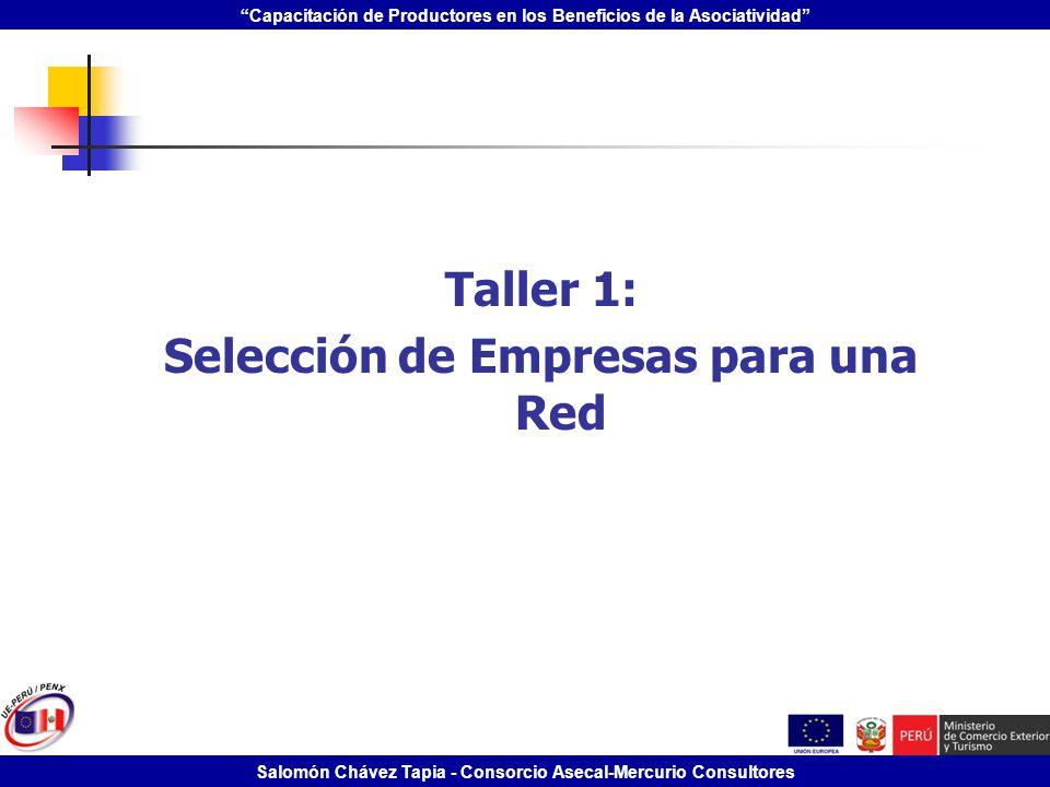 Capacitación de Productores en los Beneficios de la Asociatividad Salomón Chávez Tapia - Consorcio Asecal-Mercurio Consultores Taller 1: Selección de