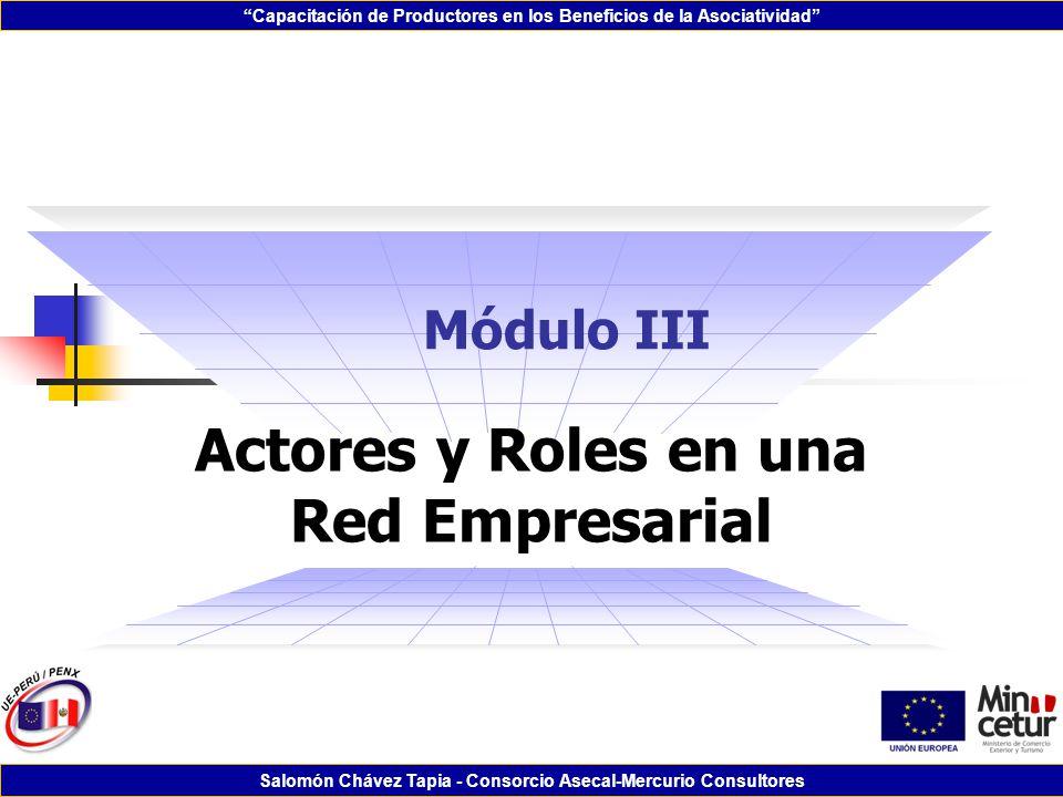 Capacitación de Productores en los Beneficios de la Asociatividad Salomón Chávez Tapia - Consorcio Asecal-Mercurio Consultores Módulo III Actores y Ro