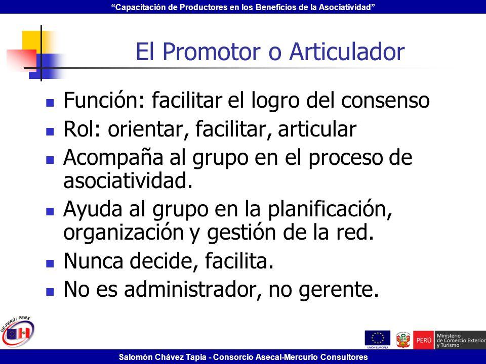 Capacitación de Productores en los Beneficios de la Asociatividad Salomón Chávez Tapia - Consorcio Asecal-Mercurio Consultores El Promotor o Articulad