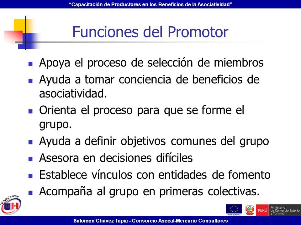 Capacitación de Productores en los Beneficios de la Asociatividad Salomón Chávez Tapia - Consorcio Asecal-Mercurio Consultores Funciones del Promotor