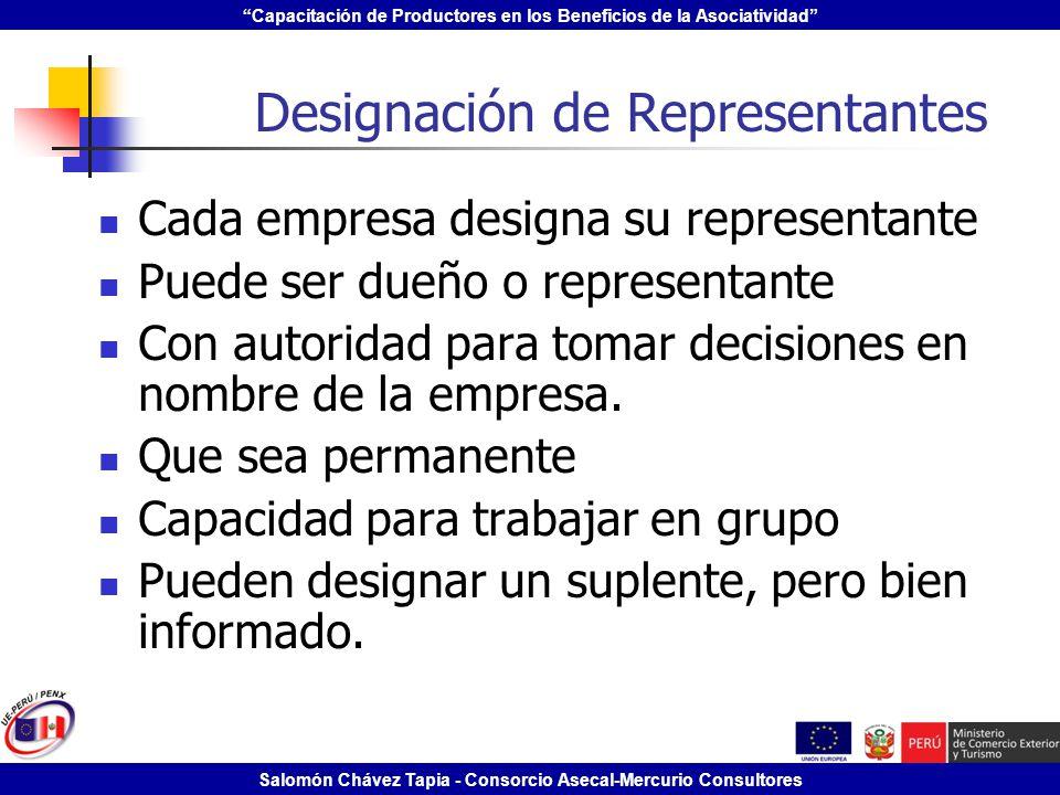 Capacitación de Productores en los Beneficios de la Asociatividad Salomón Chávez Tapia - Consorcio Asecal-Mercurio Consultores Designación de Represen