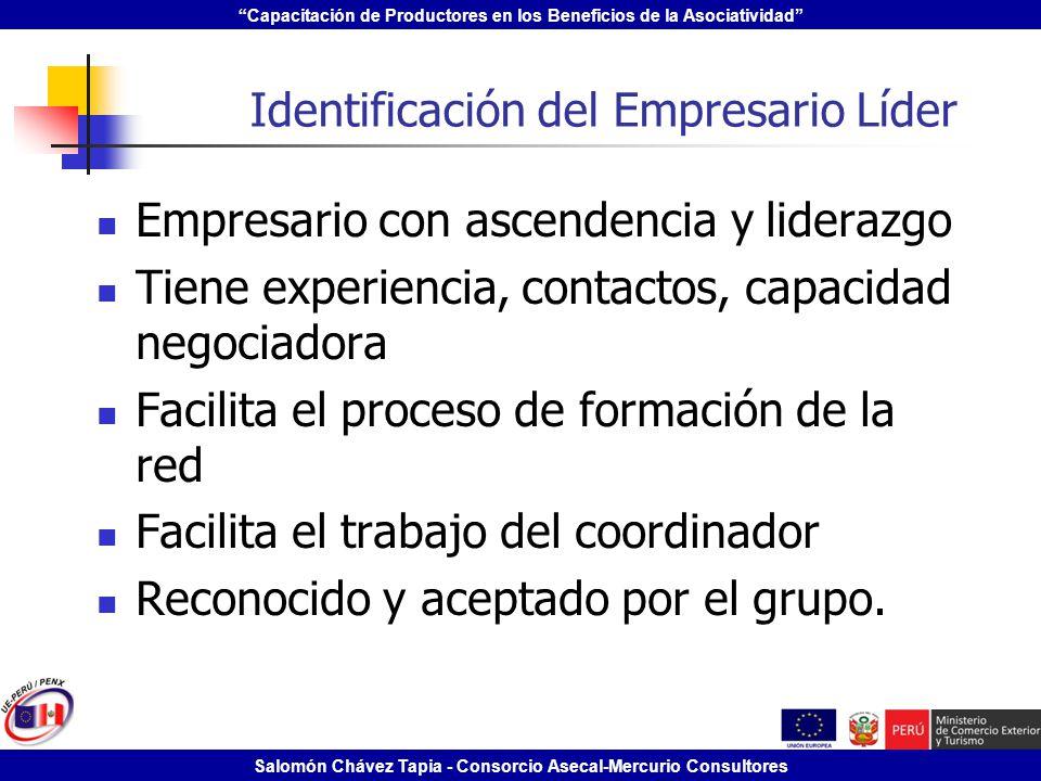 Capacitación de Productores en los Beneficios de la Asociatividad Salomón Chávez Tapia - Consorcio Asecal-Mercurio Consultores Identificación del Empr