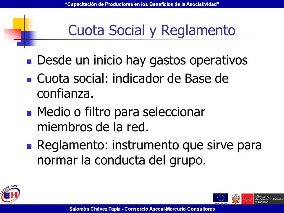 Capacitación de Productores en los Beneficios de la Asociatividad Salomón Chávez Tapia - Consorcio Asecal-Mercurio Consultores Cuota Social y Reglamen