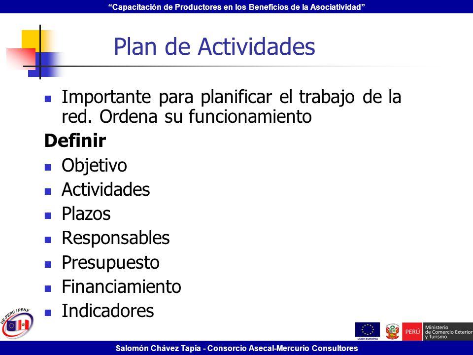 Capacitación de Productores en los Beneficios de la Asociatividad Salomón Chávez Tapia - Consorcio Asecal-Mercurio Consultores Plan de Actividades Imp