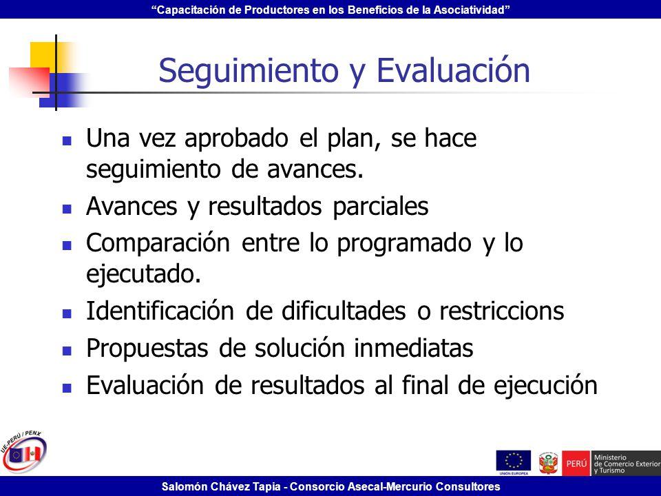 Capacitación de Productores en los Beneficios de la Asociatividad Salomón Chávez Tapia - Consorcio Asecal-Mercurio Consultores Seguimiento y Evaluació