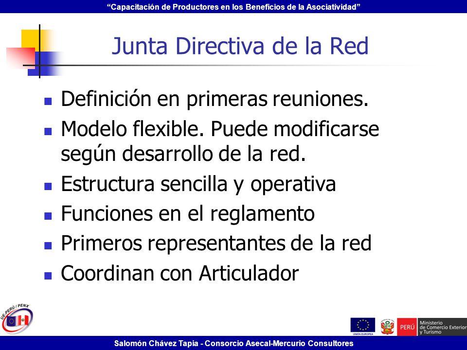 Capacitación de Productores en los Beneficios de la Asociatividad Salomón Chávez Tapia - Consorcio Asecal-Mercurio Consultores Junta Directiva de la R