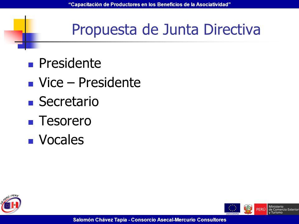 Capacitación de Productores en los Beneficios de la Asociatividad Salomón Chávez Tapia - Consorcio Asecal-Mercurio Consultores Propuesta de Junta Dire