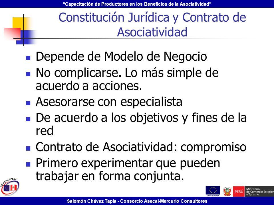 Capacitación de Productores en los Beneficios de la Asociatividad Salomón Chávez Tapia - Consorcio Asecal-Mercurio Consultores Constitución Jurídica y