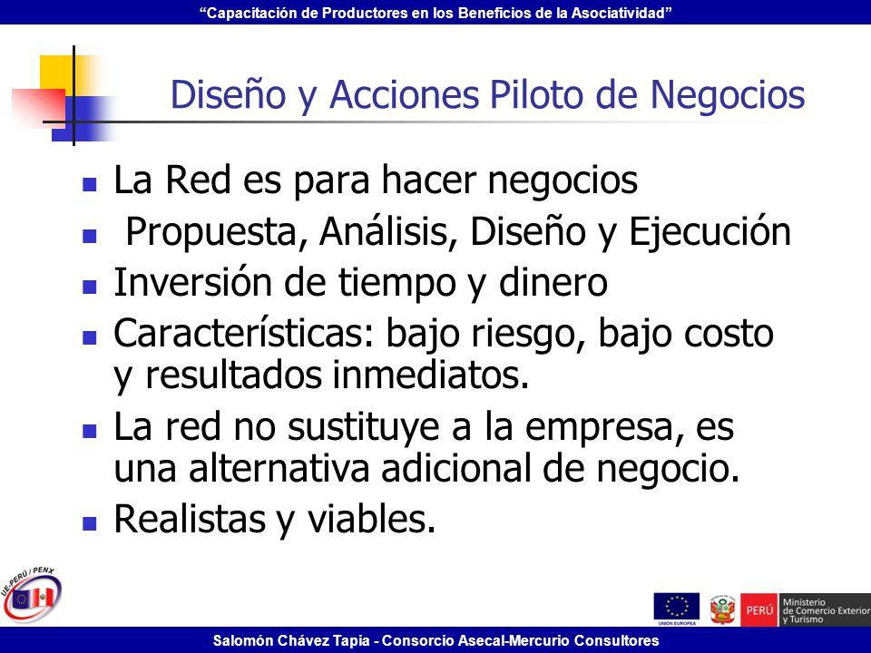 Capacitación de Productores en los Beneficios de la Asociatividad Salomón Chávez Tapia - Consorcio Asecal-Mercurio Consultores Diseño y Acciones Pilot