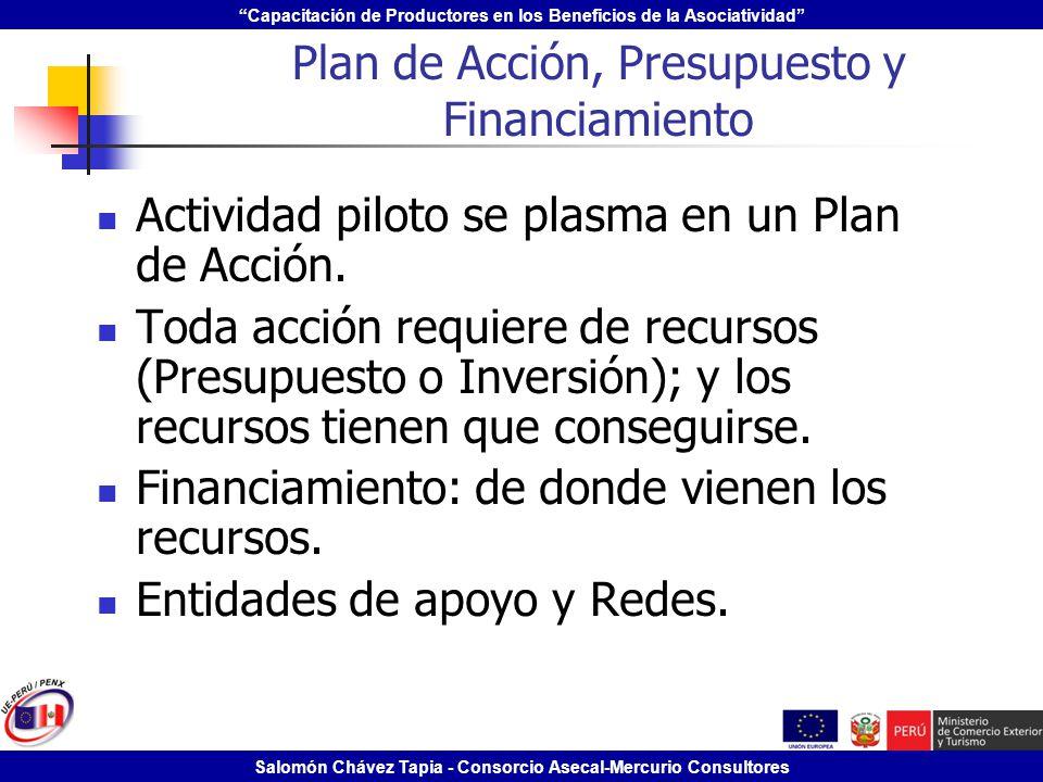 Capacitación de Productores en los Beneficios de la Asociatividad Salomón Chávez Tapia - Consorcio Asecal-Mercurio Consultores Plan de Acción, Presupu
