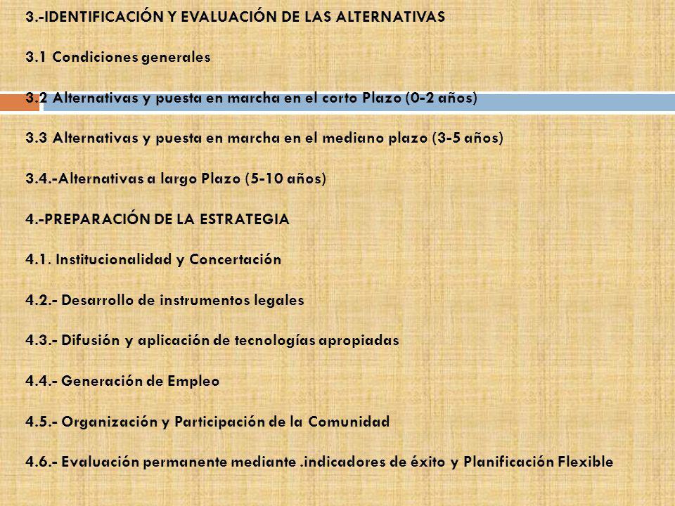 3.-IDENTIFICACIÓN Y EVALUACIÓN DE LAS ALTERNATIVAS 3.1 Condiciones generales 3.2 Alternativas y puesta en marcha en el corto Plazo (0-2 años) 3.3 Alte