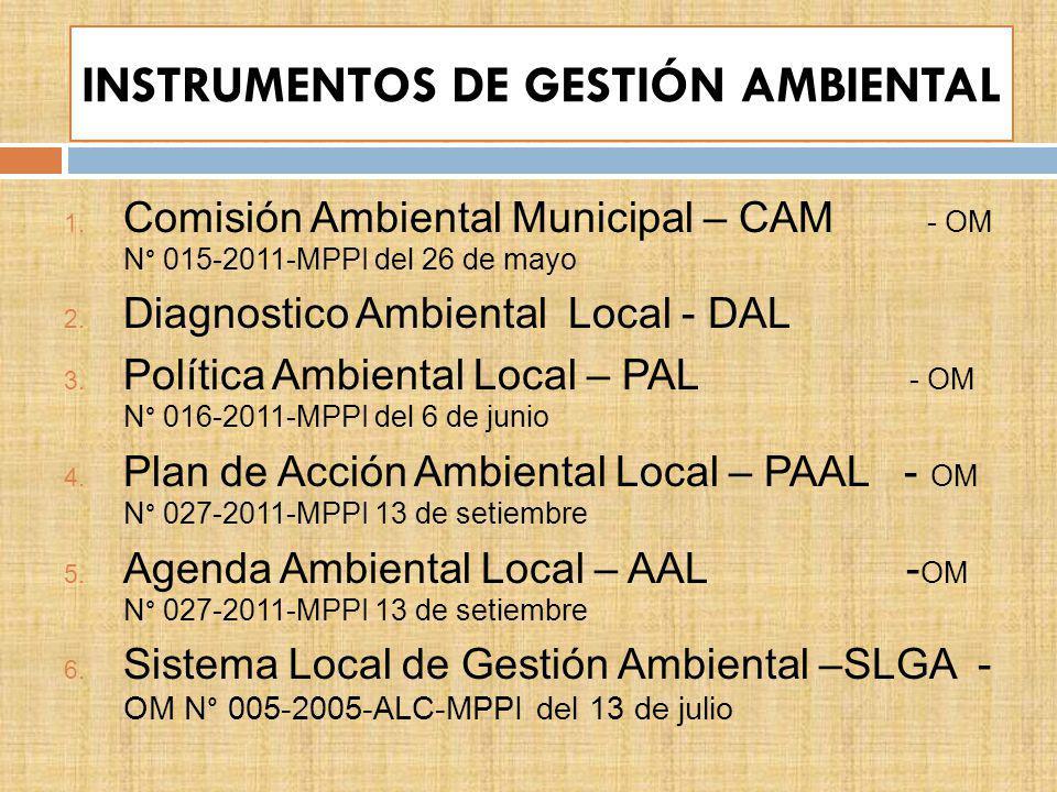 INSTRUMENTOS DE GESTIÓN AMBIENTAL 1. Comisión Ambiental Municipal – CAM - OM N° 015-2011-MPPI del 26 de mayo 2. Diagnostico Ambiental Local - DAL 3. P