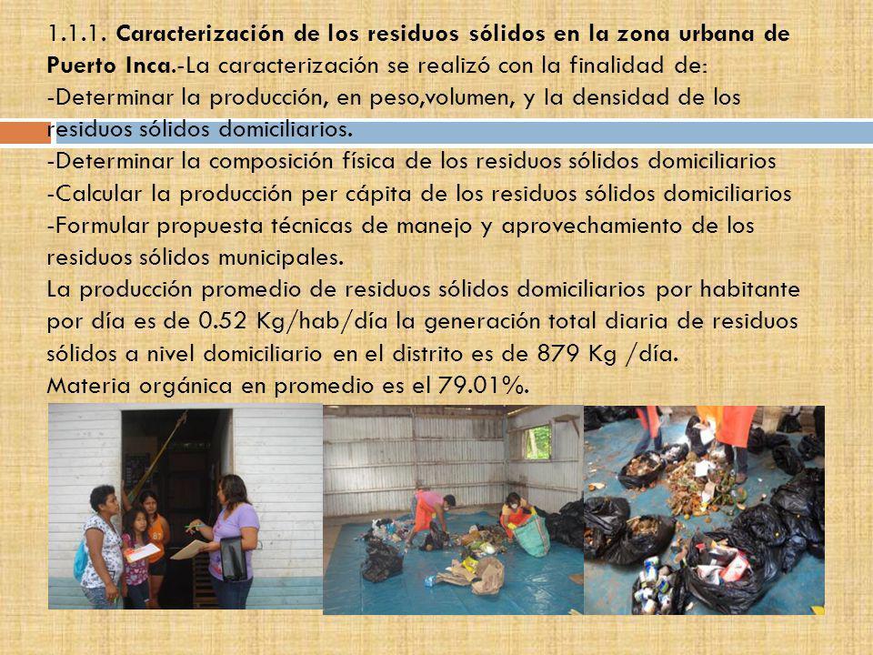 1.1.1. Caracterización de los residuos sólidos en la zona urbana de Puerto Inca.-La caracterización se realizó con la finalidad de: -Determinar la pro
