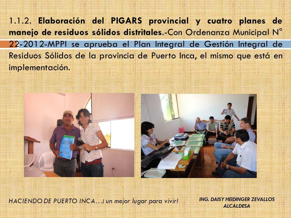 1.1.2. Elaboración del PIGARS provincial y cuatro planes de manejo de residuos sólidos distritales.-Con Ordenanza Municipal N° 22-2012-MPPI se aprueba