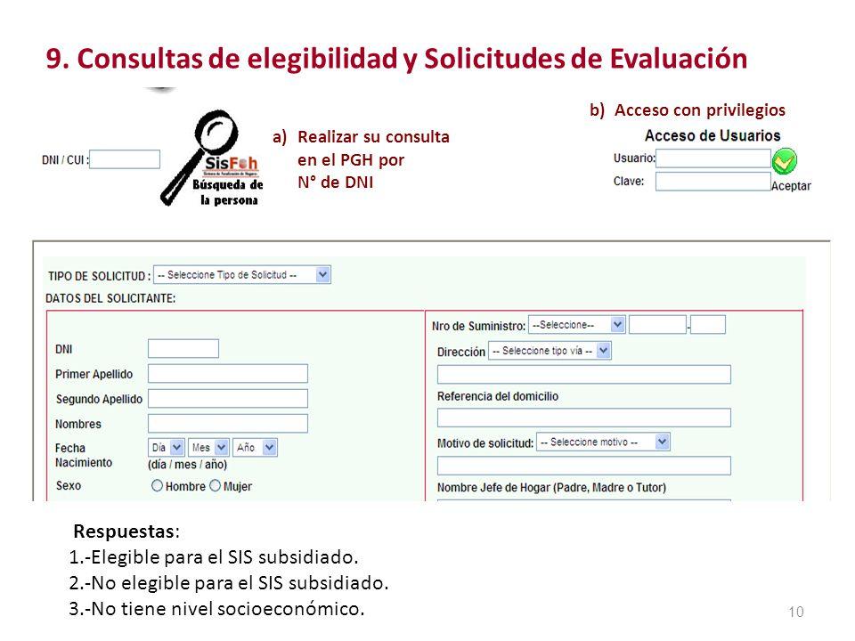 10 9. Consultas de elegibilidad y Solicitudes de Evaluación a) Realizar su consulta en el PGH por N° de DNI b) Acceso con privilegios Respuestas: 1.-E