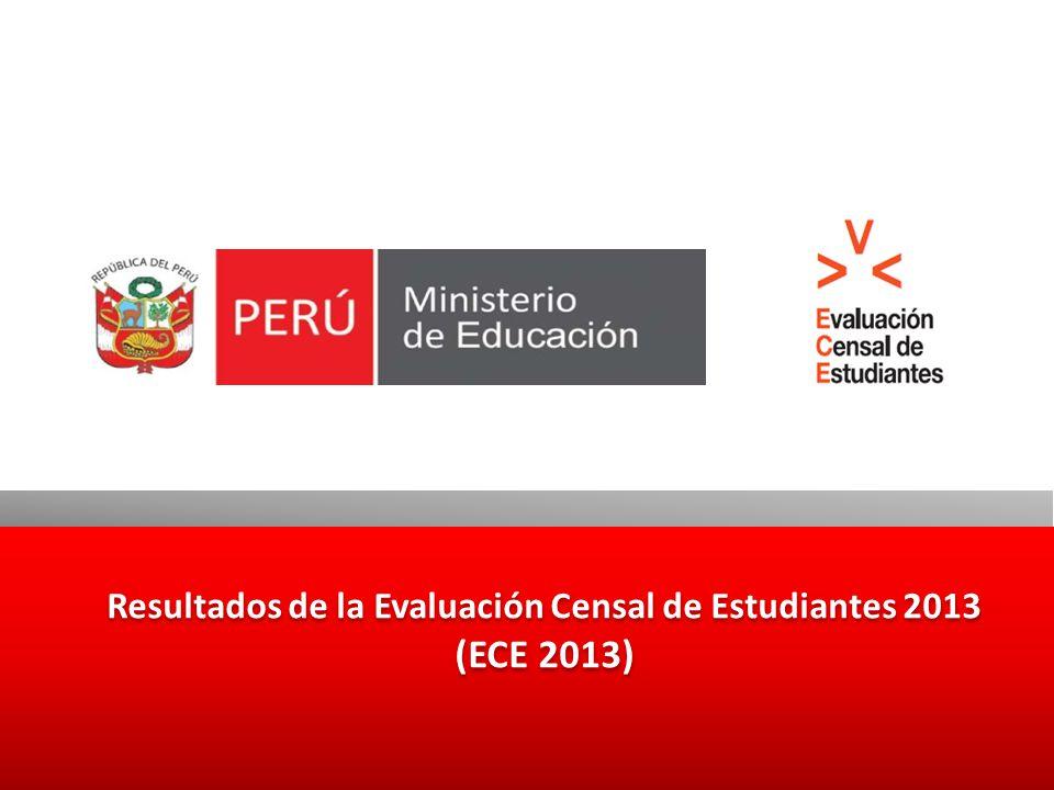 Ficha Técnica de la ECE Población evaluada Estudiantes de segundo grado de primaria de IIEE con cinco o más estudiantes que no aplican Educación Intercultural Bilingüe (EIB).
