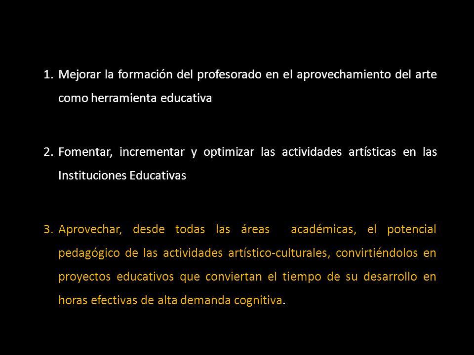 1.Mejorar la formación del profesorado en el aprovechamiento del arte como herramienta educativa 2.Fomentar, incrementar y optimizar las actividades a