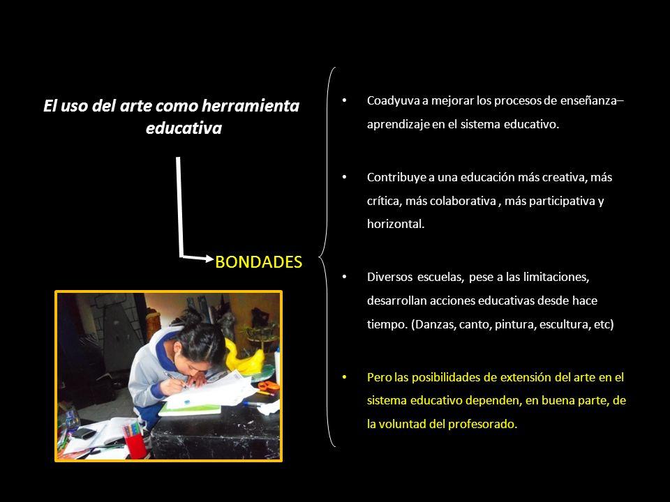 El uso del arte como herramienta educativa BONDADES Coadyuva a mejorar los procesos de enseñanza– aprendizaje en el sistema educativo. Contribuye a un