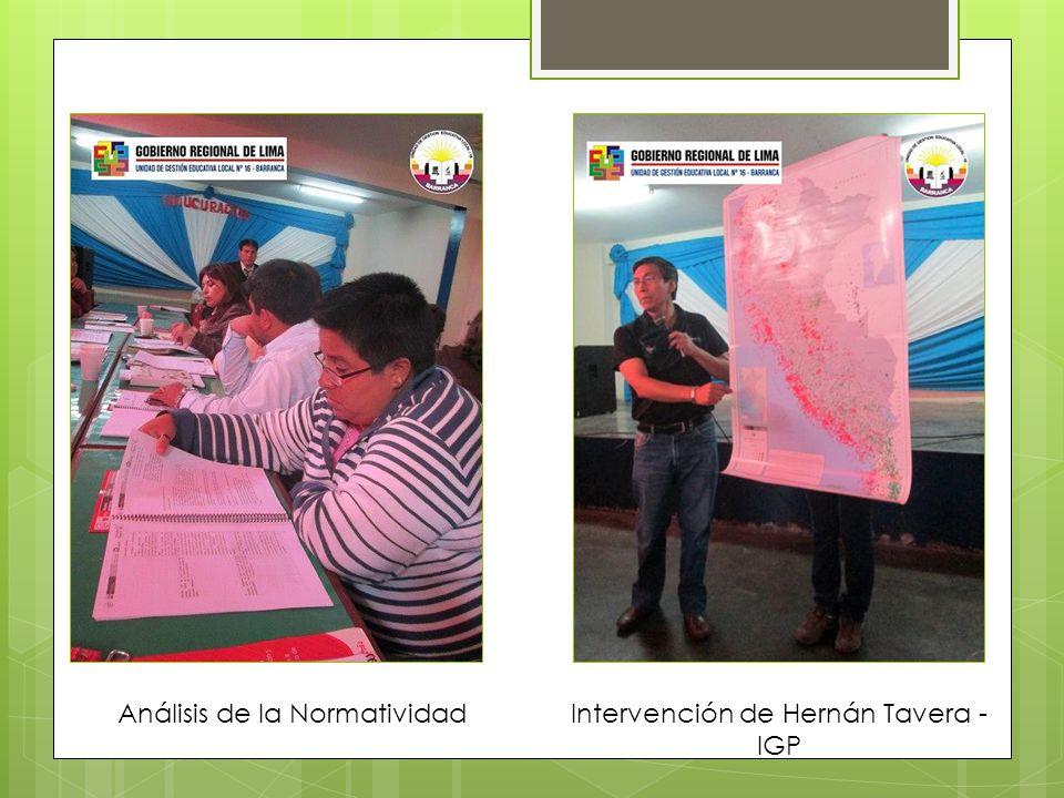 Análisis de la Normatividad Intervención de Hernán Tavera - IGP