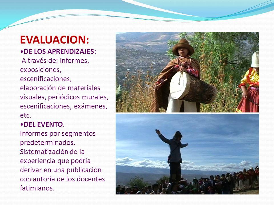 EVALUACION: DE LOS APRENDIZAJES: A través de: informes, exposiciones, escenificaciones, elaboración de materiales visuales, periódicos murales, esceni