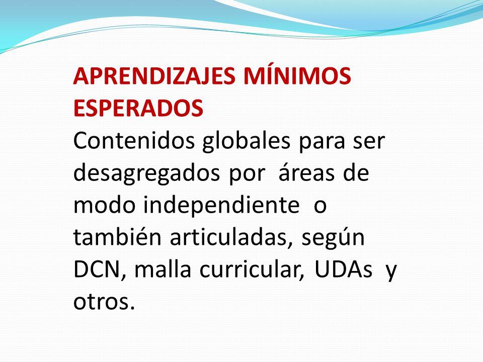 APRENDIZAJES MÍNIMOS ESPERADOS Contenidos globales para ser desagregados por áreas de modo independiente o también articuladas, según DCN, malla curri