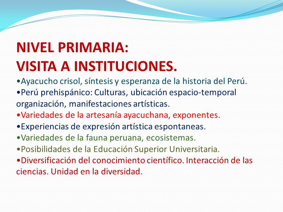 NIVEL PRIMARIA: VISITA A INSTITUCIONES. Ayacucho crisol, síntesis y esperanza de la historia del Perú. Perú prehispánico: Culturas, ubicación espacio-