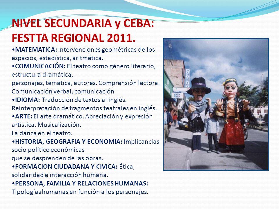 NIVEL SECUNDARIA y CEBA: FESTTA REGIONAL 2011. MATEMATICA: Intervenciones geométricas de los espacios, estadística, aritmética. COMUNICACIÓN: El teatr