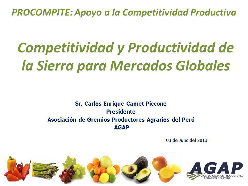 La Asociación de Gremios Productores Agrarios del Perú AGAP Asociación civil sin fines de lucro, Constituida en diciembre del año 2003 Institución que representa al sector Agro Exportador ante el Gobierno Peruano y entidades extranjeras.