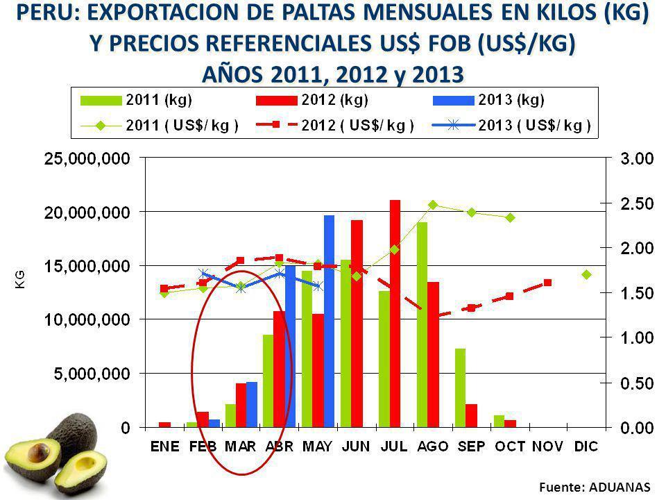 PERU: EXPORTACION DE PALTAS MENSUALES EN KILOS (KG) Y PRECIOS REFERENCIALES US$ FOB (US$/KG) AÑOS 2011, 2012 y 2013 PERU: EXPORTACION DE PALTAS MENSUA