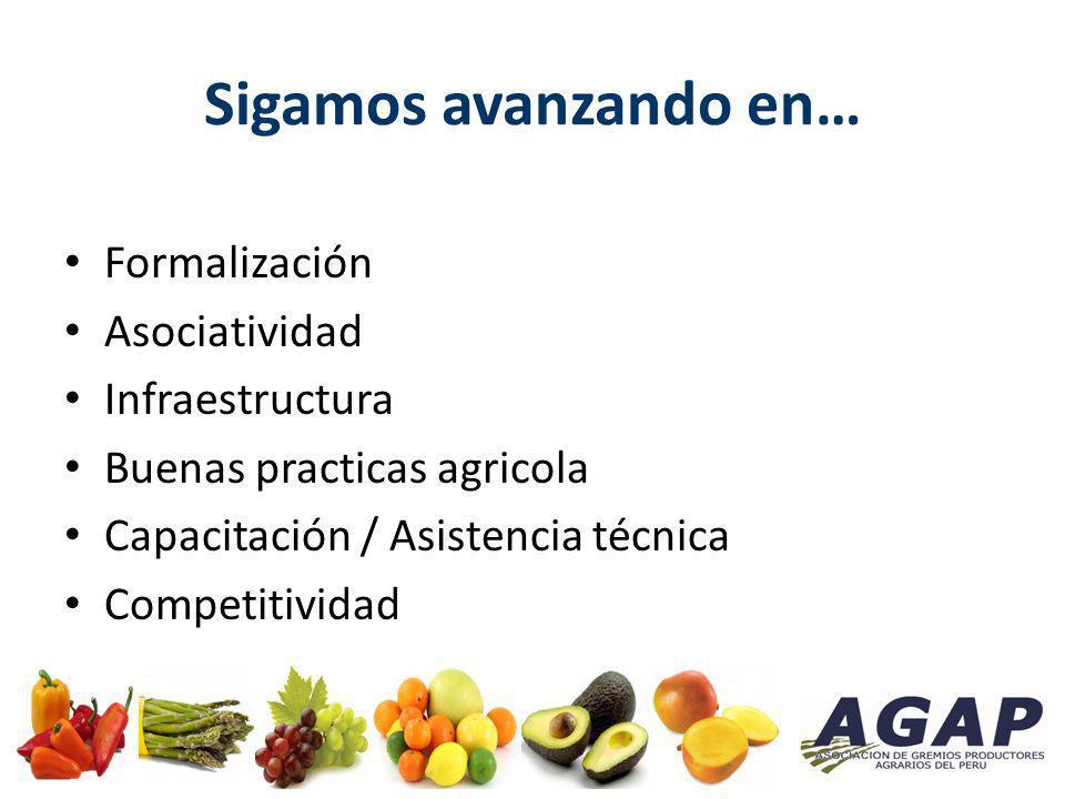 Sigamos avanzando en… Formalización Asociatividad Infraestructura Buenas practicas agricola Capacitación / Asistencia técnica Competitividad