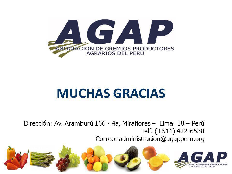 MUCHAS GRACIAS Dirección: Av. Aramburú 166 - 4a, Miraflores – Lima 18 – Perú Telf. (+511) 422-6538 Correo: administracion@agapperu.org