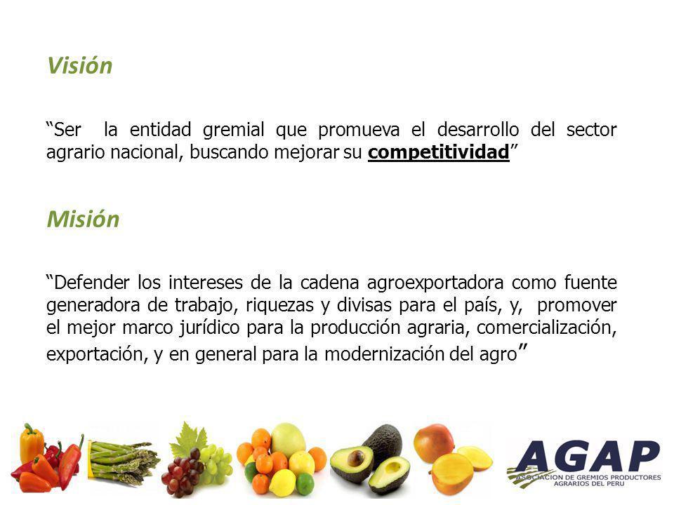 Visión Ser la entidad gremial que promueva el desarrollo del sector agrario nacional, buscando mejorar su competitividad Misión Defender los intereses