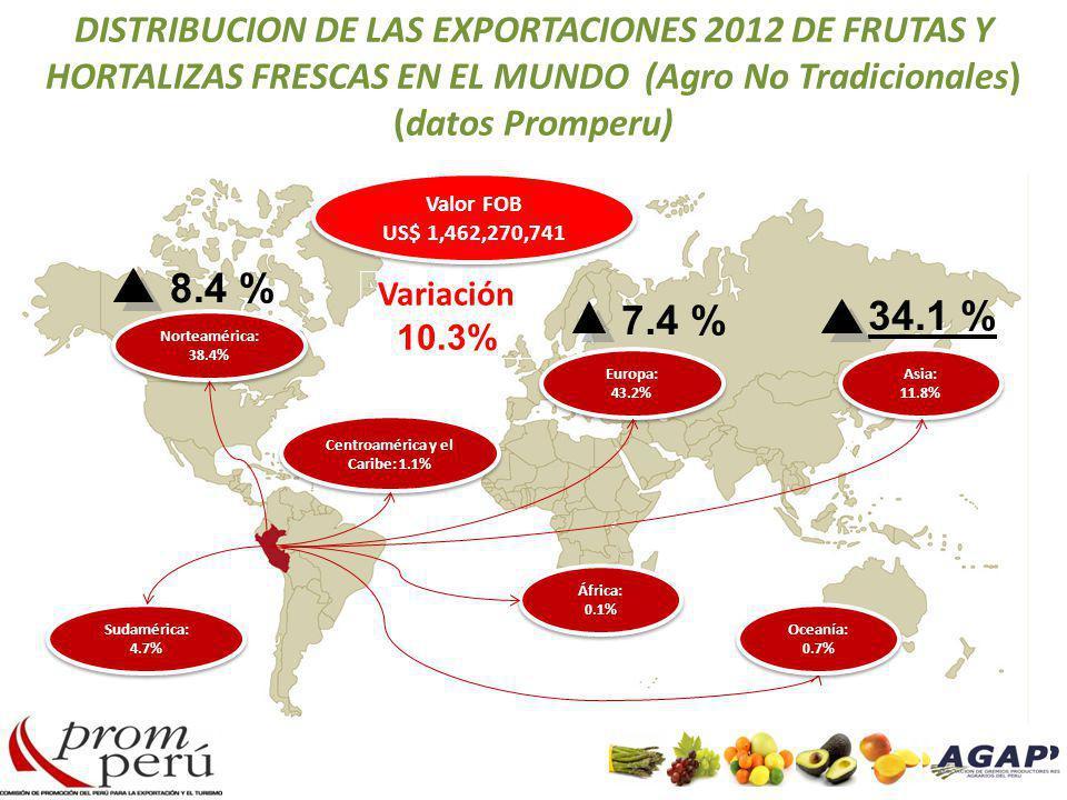 DISTRIBUCION DE LAS EXPORTACIONES 2012 DE FRUTAS Y HORTALIZAS FRESCAS EN EL MUNDO (Agro No Tradicionales) (datos Promperu) Norteamérica: 38.4% Sudamér