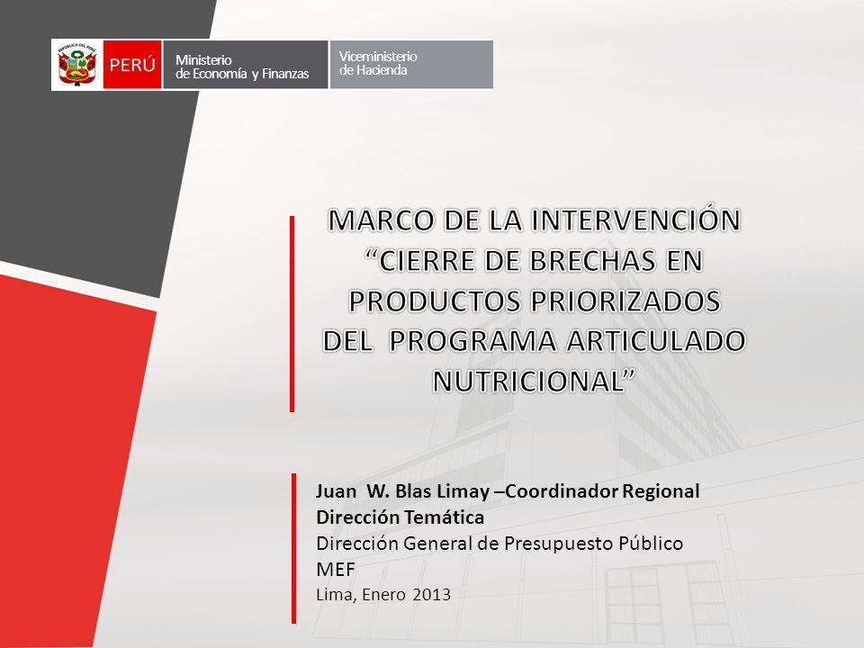 Lima, Enero 2013 Ministerio de Economía y Finanzas Viceministerio de Hacienda Juan W. Blas Limay –Coordinador Regional Dirección Temática Dirección Ge