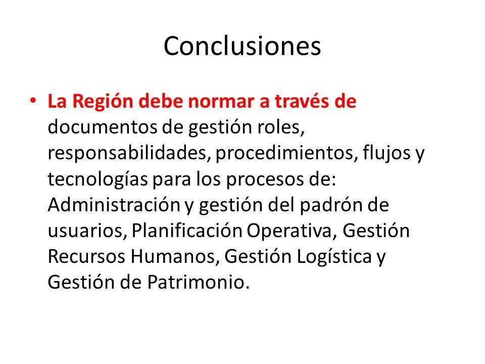 Conclusiones La Región debe normar a través de documentos de gestión roles, responsabilidades, procedimientos, flujos y tecnologías para los procesos
