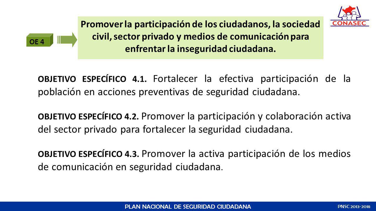 OE 4 Promover la participación de los ciudadanos, la sociedad civil, sector privado y medios de comunicación para enfrentar la inseguridad ciudadana.