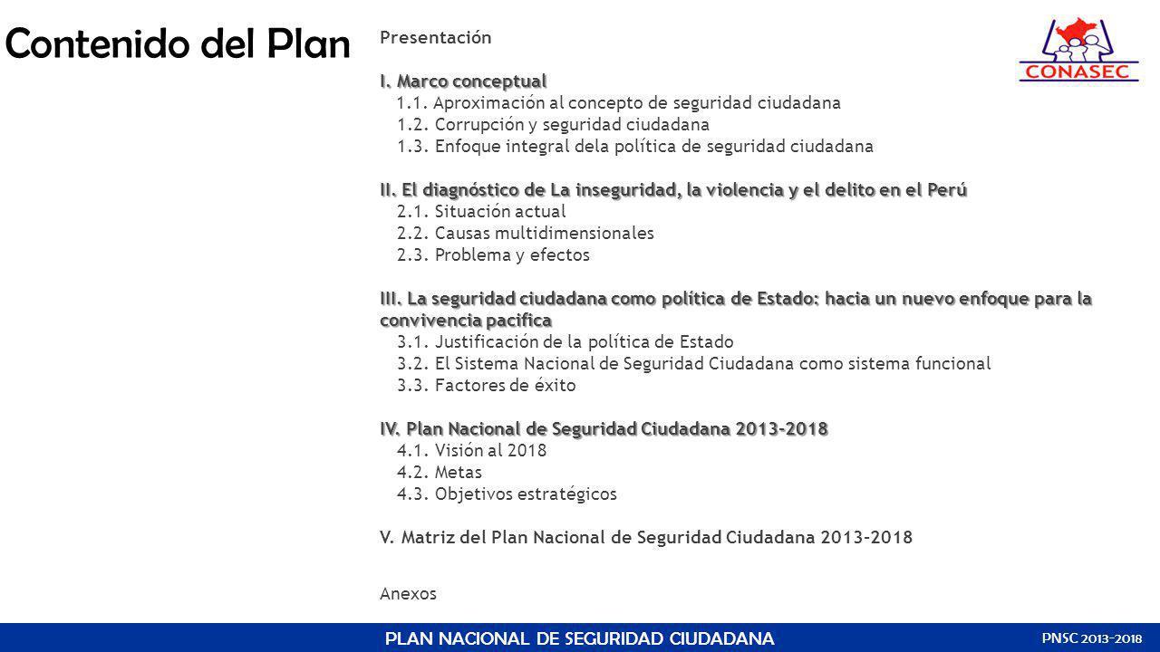 Contenido del Plan Presentación I. Marco conceptual I. Marco conceptual 1.1. Aproximación al concepto de seguridad ciudadana 1.2. Corrupción y segurid