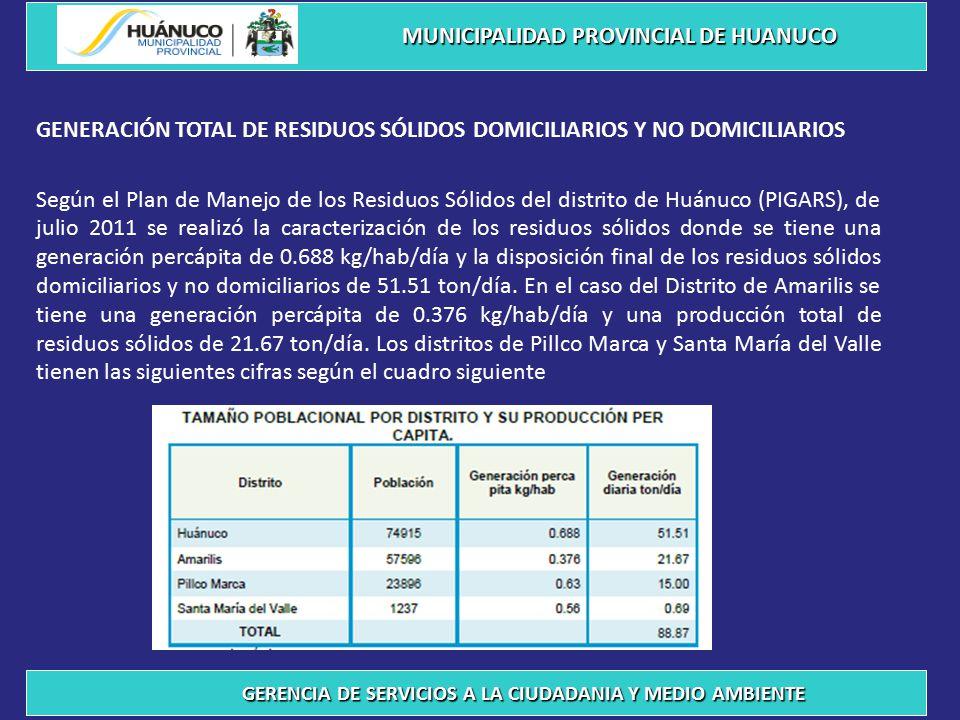 GENERACIÓN TOTAL DE RESIDUOS SÓLIDOS DOMICILIARIOS Y NO DOMICILIARIOS Según el Plan de Manejo de los Residuos Sólidos del distrito de Huánuco (PIGARS), de julio 2011 se realizó la caracterización de los residuos sólidos donde se tiene una generación percápita de 0.688 kg/hab/día y la disposición final de los residuos sólidos domiciliarios y no domiciliarios de 51.51 ton/día.