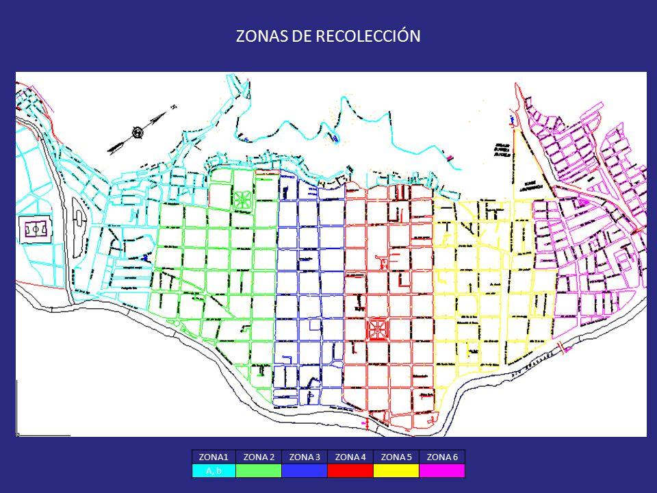 ZONA1ZONA 2ZONA 3ZONA 4ZONA 5ZONA 6 A, b ZONAS DE RECOLECCIÓN
