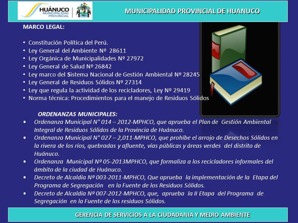 PROGRAMAS MUNICIPALES QUE SE VIENEN DESARROLLANDO MUNICIPALIDAD PROVINCIAL DE HUANUCO GERENCIA DE SERVICIOS A LA CIUDADANIA Y MEDIO AMBIENTE