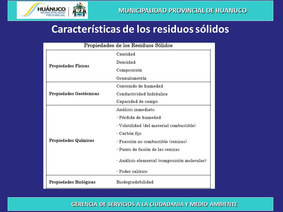 COMPOSICION FISICA DE LOS RESIDUOS SÓLIDOS MUNICIPALIDAD PROVINCIAL DE HUANUCO GERENCIA DE SERVICIOS A LA CIUDADANIA Y MEDIO AMBIENTE